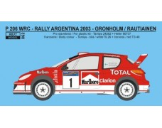 Decal – Peugeot 206 WRC 2003  Rally Argentina 2003