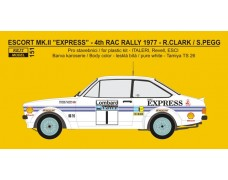 "Decal – Ford Escort RS 1800 ""Express"" - 4th RAC 1977 - Clark / Pegg"