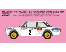 "Decal -  Fiat 131 Abarth ""FRANCE"" - 2nd Rallye Monte Carlo 1977 - Andruet / ""Biche"""