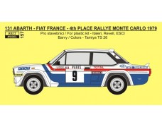 "Decal -  Fiat 131 Abarth ""FRANCE"" - 4th Rallye Monte Carlo 1979 - Andruet / Lienard"