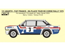 "Decal -  Fiat 131 Abarth ""FRANCE"" - 5th Rallye Tour de Corse 1979 - Mouton / Conconi"