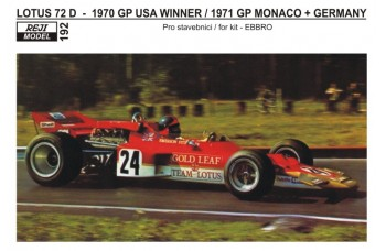 Decal – Lotus 72C - 1970 GP USA Winner / 1971 GP Monaco + Germany version