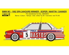 Decal – BMW M3 - Winner 1992 Spa 24 Hours - Soper / Martin / Danner