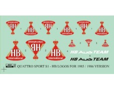 Decal – Audi Quattro Sport S1 version 1985/1986 - HB logos
