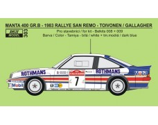 Decal – Opel Manta 400 Gr.B - 1983 Rallye San Remo - Toivonen / Gallagher