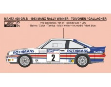 Decal – Opel Manta 400 Gr.B - 1983 Manx Rallye winner - Toivonen / Gallagher - LIMITED EDITION