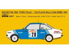 "Decal – Ford Escort RS 1800 ""FORD ITALIA"" 11th Rallye San Remo 1981"