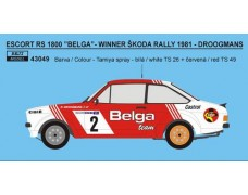 "Decal – Ford Escort RS 1800 ""Belga"" - Škoda rally 1981"